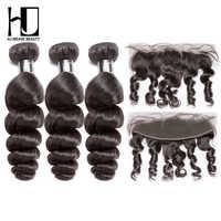 HJ 織り美容バージンマレーシア人間の髪のバンドルフロント毛織りバンドルルーズウェーブナチュラルカラー送料無料