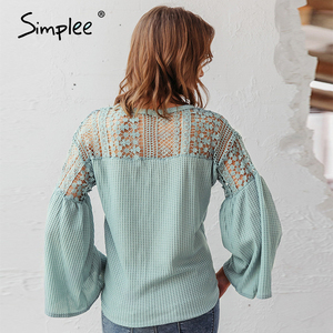 Image 4 - Simplee Sexy v neck women blouse Elegant lace embroidery hollow out loose sleeve office tops Lace up autumn female blouse shirts
