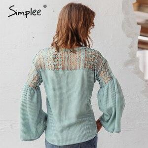 Image 4 - Simplee seksi v yaka kadın bluz zarif dantel nakış hollow out gevşek kollu ofis üstleri dantel up sonbahar kadın bluz gömlek
