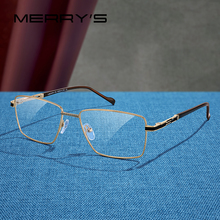 MERRYS дизайн мужские роскошные очки оправа близорукость по рецепту очки Оптическая оправа Бизнес Стиль S2107