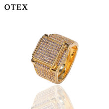 Luxury brand fashion girls boys Gold and silver Hip hop Jewelry Gucced square Zircon Copper ring set men woman Ring locket(China)