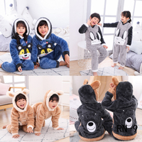RN 9 Children Pajamas Boys Flannel 2019 Winter Thickened Kids Homewear Suit Girls Cartoon Sleepwear Warm Plush Christmas Pajamas