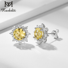 Kuololit Yellow Diaspore Gemstone Stud Earrings for Women Solid 925 Sterling Silver Color Change Yellow Pink Sultanite New Gifts