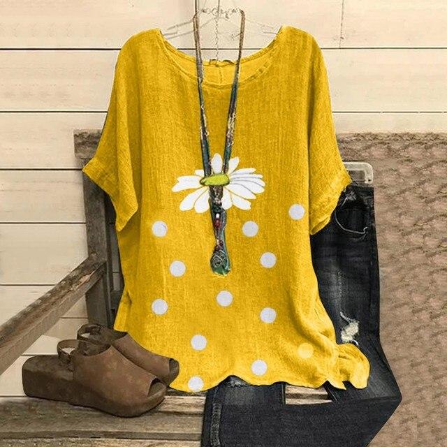 Fashion Women Blouses Casual Floral Point Print O-neck Short Sleeve Shirts Blouse Women Summer Top Blusas Kobiety Bluzki @47 4