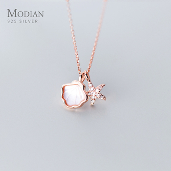 Modian Real 925 Sterling Silver Link Chain Necklace for Women Shiny Zircon Starfish Shell Pendant Necklace Fine Jewelry 2020 New