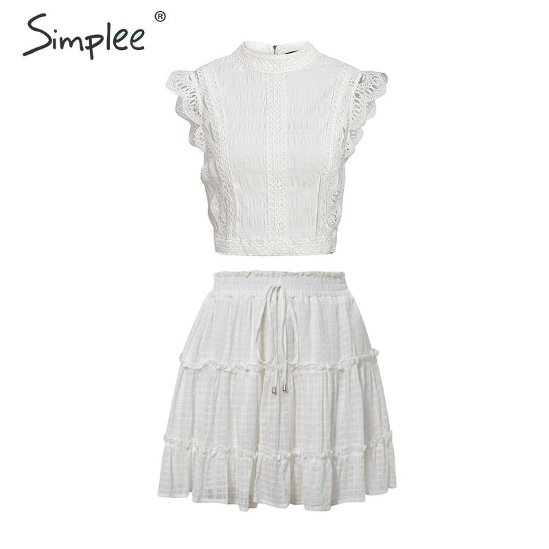 Image 5 - Simplee Two piece white holiday dress women Sleeveless hollow out ruffle lace up mini dresses Summer short top ladies dress 2020Dresses   -