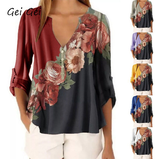 Flower Print Women T-shirt Half Sleeve V-neck Casual Sexy Shirts Womens Clothing Summer 2020 Female Loose Plus Size Tops T Shirt