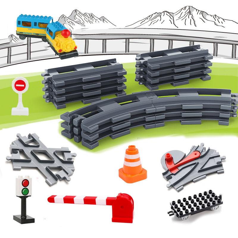 DIY Train Track Sets Big Building Blocks Vehicle Accessories Assembly Railway Children Interactive Toys Compatible Duplo Bricks