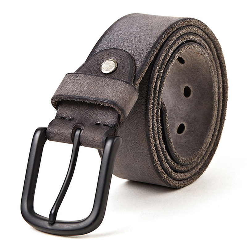 100% Leather Men's Durable Casual Wild Belt Matte Metal Pin Buckle Soft Tough Leather Belt for Men Without Interlayer Male Belt(China)