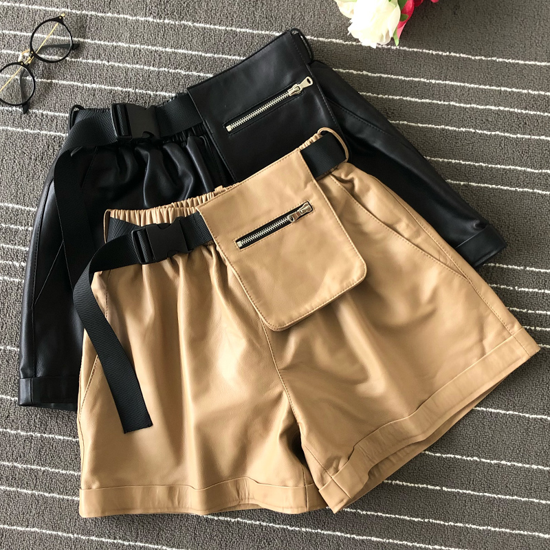 Hot Fashion Women's High-waist Wide-leg Shorts 2019 Autumn Pockets Real Leather Shorts Short Trousers  A821