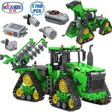 Erbo alta-tecnologia especialista de controle remoto fazenda carro blocos de construção construção agricultor veículo tijolos diy brinquedos para meninos presentes do feriado