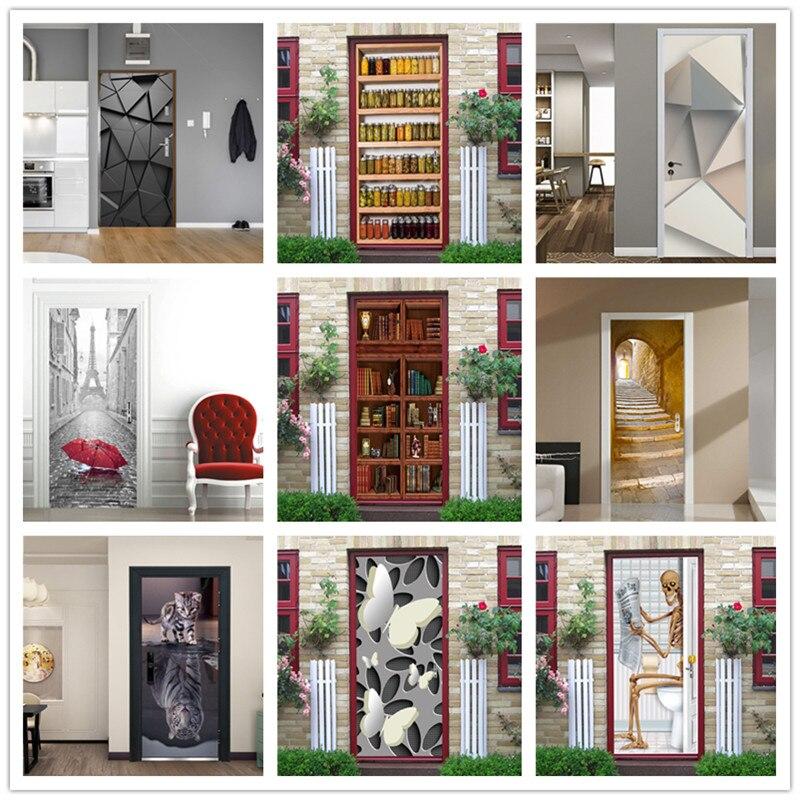 3D Geometric Door Stickers Home Decor Vinyl Waterproof Wallpaper For Doors Living Room Bedroom DIY Cat Posters Mural Wall Decals