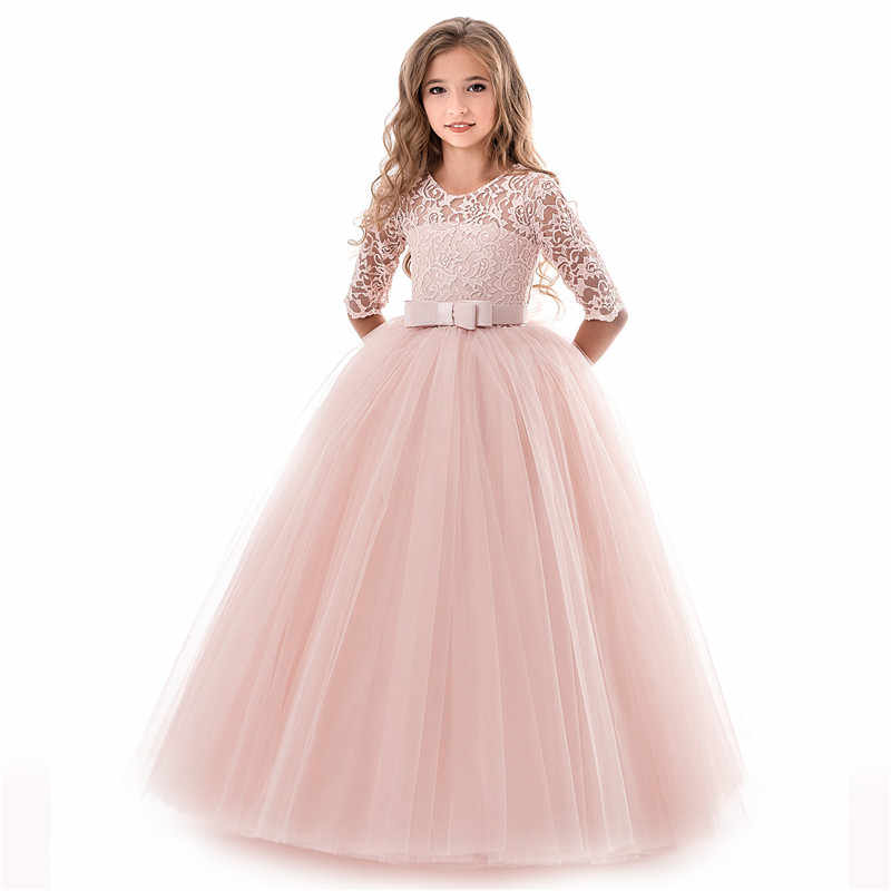 New fashion kids dresses for girls child princess lace wedding costume11 12 13 14 year dress children clothing baby girl clothes