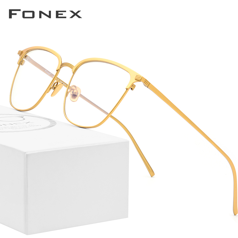 FONEX Pure B Titanium Glasses Frame Men Square Prescription Eyeglasses Eyewear Vintage Myopia Optical Eye Glasses For Men 866