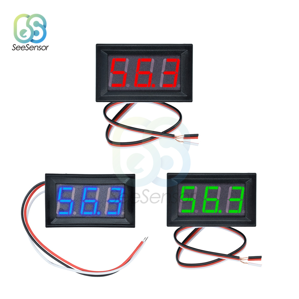 0.56 inch Mini LED Digital Voltmeter Detector DC 0-100V 12V 24V <font><b>Voltage</b></font> Capacity Monitor <font><b>Voltage</b></font> Tester Meter 3 Wire DC 4.5V-28V image