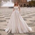 Роскошное свадебное платье-трапеция Adoly Mey, роскошное платье принцессы со шлейфом и глубоким круглым вырезом, расшитое бисером, с длинными р...