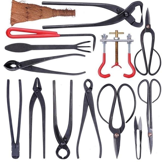 Juego de Herramientas para podar bonsái, cortacésped extensible para jardín, Kit de tijeras acero al carbono con funda de nailon para herramientas de podar de jardín y casa