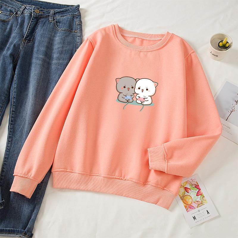 Cute Cat Printed Hoodies Women Autumn Loose Sweatshirt Female Itself Harajuku Kawaii Hooded Pullover Thicken Couple Coat 16
