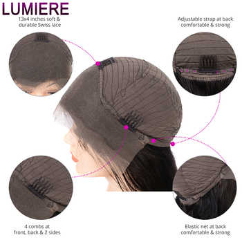 Lumiere Hair Peruvian Body Wave 13X4 Lace Front Human Hair Bob Wig Pre Plucked With Baby Hair Non-Remy Free Part Natural Black
