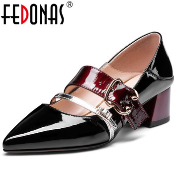FEDONAS New Arrival Women Square Heels Slip On Prom Pumps Spring Summer Point Toe Shoes Genuine Leather Classic Shoes Woman