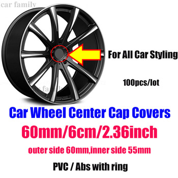 "Wholesale Price 100PCS Car Logo Decal+ 60MM 2.36"" Wheel Hub Cap Center Cap Auto Accessorie For benz fiat audi hyundai volvo bmw"