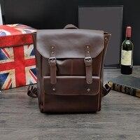 Multifunction Men Backpack Crazy Horse Leather Men School Bag Vintage Backpack for Teenage Boys Schoolbag Laptop Travel Bag