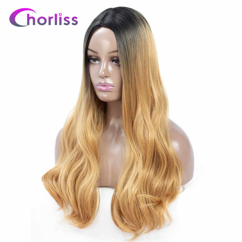 Ombre Synthetic Wig Long Wavy Natural Blonde Ginger Wig Chorliss Middle Part Meek Wig Black Brown Orange Pink Lolita Cosplay Wig