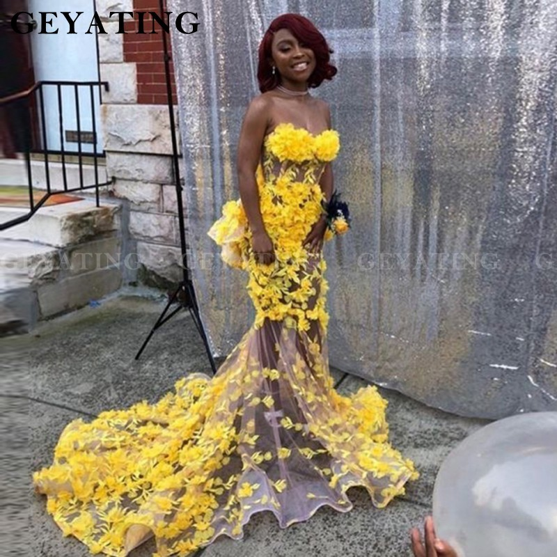 African Yellow Lace 3D Floral Flowers Mermaid Prom Dresses For Black Girls 2k20 See Through Sweetheart Plus Size Party Gowns