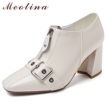 Meotina High Heels Women Pumps Natural Genuine Leather Zipper Thick High Heel Shoes Cow Leather Buckle Square Toe Shoes Lady 39