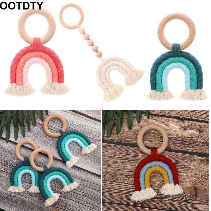 Baby Teething Natural Wood Tassels Key Newborn Mom Teething Ring Wooden Teether