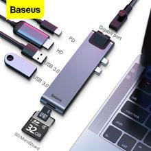 Baseus USB tipo C HUB a HDMI RJ45 Ethernet Multi USB 3.0 Thunderbolt 3 adattatore di alimentazione per MacBook Pro Air USB-C Dock Splitter