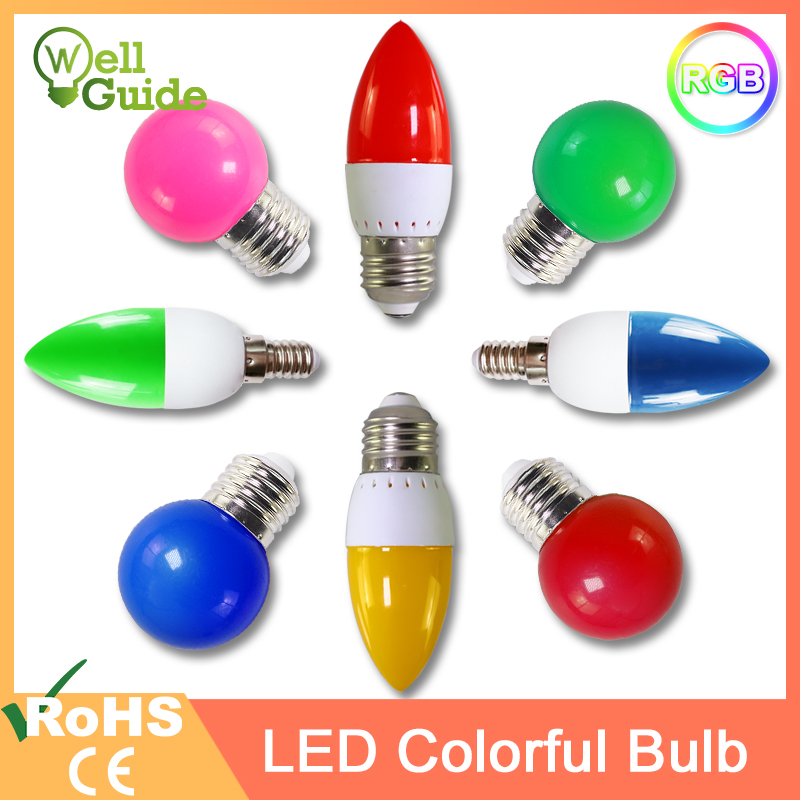 Led Bulb E27 E14 3W G45 C35 RGB AC 220V 240V Led Candle Light LED Lamp Colorful SMD 2835 Flashlight Globe Bulbs Home Decor For H