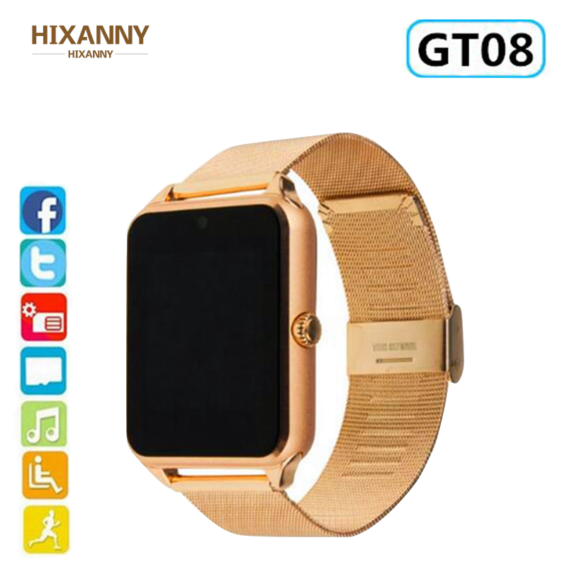 New Smart Clock GT08 Plus Metall Strap Bluetooth wrist Smartwatch support Sim TF card Android & IOS watch Multilingual PK S8 Z60