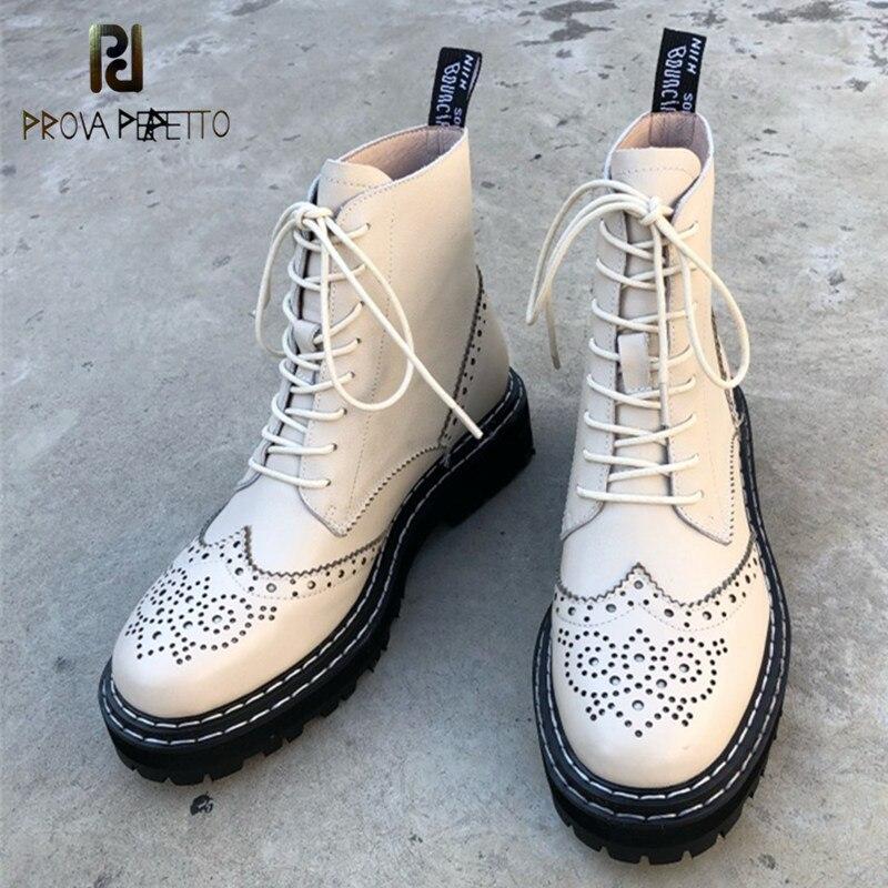 Prova perfetto botas de couro genuíno mulher oco para fora flores brogues platform rua marteens botas biker botas mujer