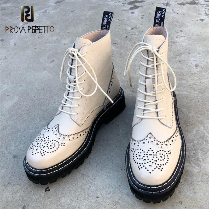 Prova Perfetto Genuine leather Woman Boots Hollow Out Flowers Brogues Platformed Street Marteens Boots Women Biker
