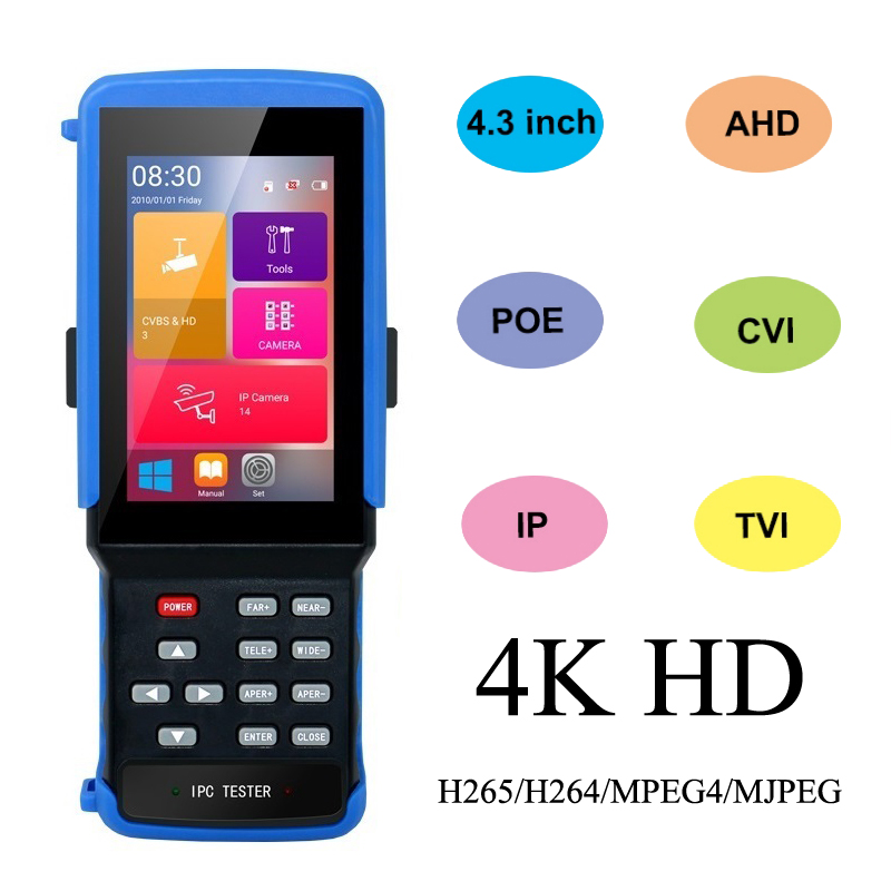IPC 9310 POE  Wifi 4.3'' 5 In One Touchscreen CCTV Tester For IPC/Analog Camera,IPC 8MP, 5MPAHD,CVI,TVI,BNC Network Cable Tester