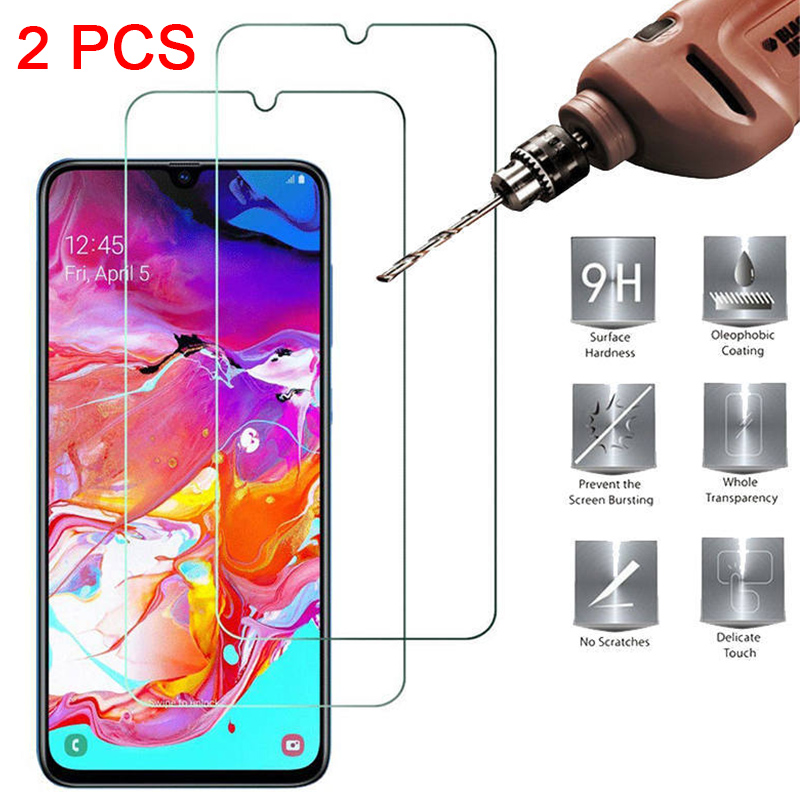 2PCS Glass 9H HD Tempered Glass For Samsung A50 A40 A30 A10E A20E Screen Protector For Samsung Galaxy A90 A80 A70 A60 A2 Core