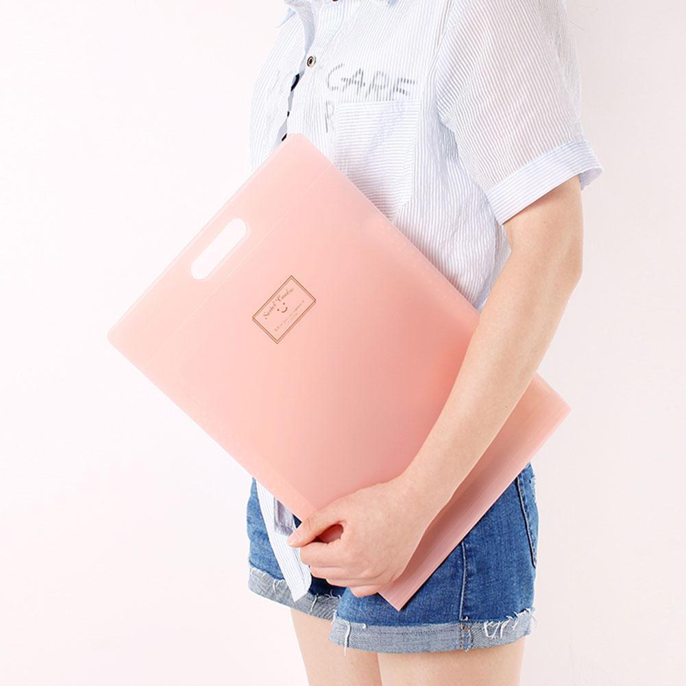 1pc Candy Color Simple A4 Waterproof Portable Folder Pochette Office Pour Document Organizer Bag Document Storage Supplies Q8F5