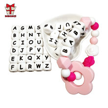 BOBO.BOX 10Pcs Letter Silicone Alphabet 12mm Food Grade Chewing Beads for Baby Teething Necklace BPA Free Silicone Letter Beads(China)