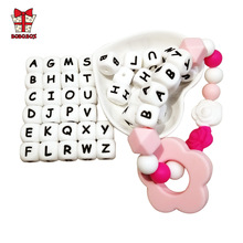 BOBO.BOX 10Pcs Letter Silicone Alphabet 12mm Food Grade Chewing Beads for Baby Teething Necklace BPA Free Silicone Letter Beads