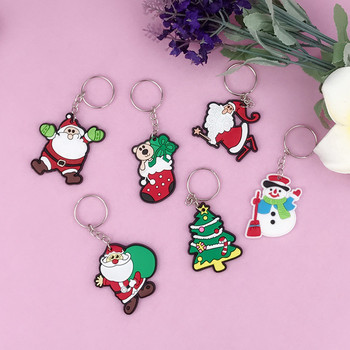 Men Women and Child Christmas Gift Cartoon Cute Santa PVC Soft Plastic Keychain Snowman Sled Elk Tree Key Chain Pendant Key Ring image
