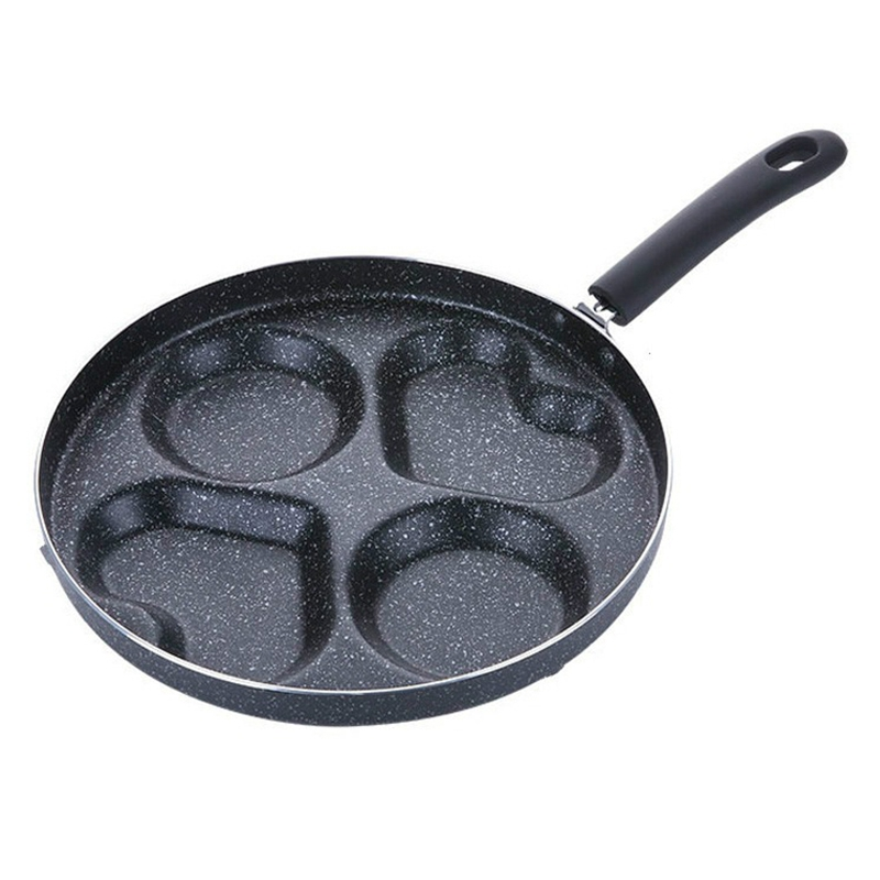 11 Inches Heart-Shaped Non-Stick Frying Pan Egg Four-Hole Ham Pan Cake Machine No Fume Breakfast Baking Pan Cooking Pot