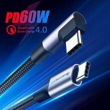 Кабель с разъемом USB типа C USB C кабель USBC Быстродействующее зарядное устройство PD шнур USB-C Type-c кабель для Samsung S20 S10 плюс PD 60 Вт быстрое зарядное...