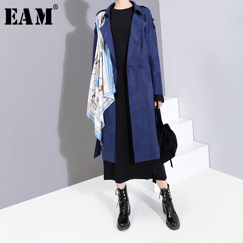 [EAM] Women Pattern Print Split Joint Trench New Lapel Long Sleeve Loose Fit Windbreaker Fashion Autumn Winter 2019 19A-a855
