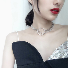 korea style women Simple Temperament Chic Choker Double Layers Circle Thick Chain Necklace New Trendy Jewelry Statement Collares fashion style double layered rhinestone circle love necklace for women