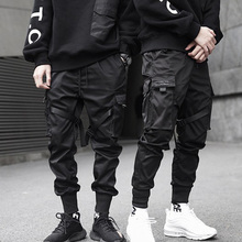 New Hip Hop Boys Multi-pocket Elastic Waist Harem Pant Men Streetwear Punk Trous