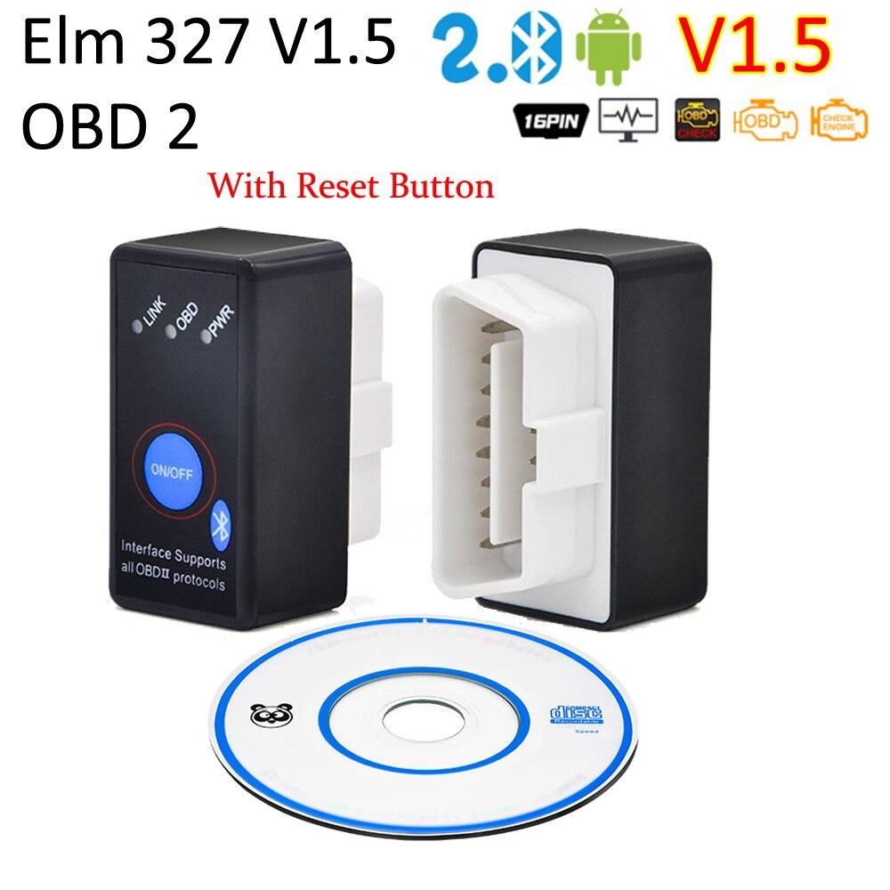 Супер Мини Elm327 Bluetooth OBD2 V1.5 Elm 327 V1.5 OBD 2 Автомобильный диагностический сканер Elm-327 OBDII адаптер Авто диагностический инструмент
