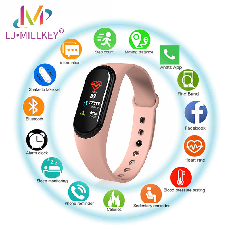 M4 Sports Smart Watch Smartwatch Blood Pressure Heart Rate Monitor Women Men Fitness Wristband With Charger