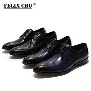 Image 3 - Erkekler Derby ayakkabı erkek siyah mavi Patent deri Patina el yapımı düğün elbisesi ayakkabı erkekler için Lace up resmi erkek resmi ayakkabı