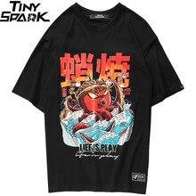 Футболка в стиле хип хоп 2020, уличная футболка с забавным принтом осьминога, Мужская футболка в стиле Харадзюку, летние футболки в японском стиле, хлопковая футболка черного цвета